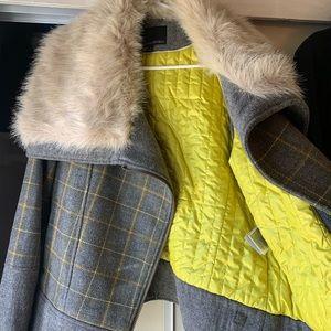 Banana Republic Plaid Wool Moto Jacket Faux Fur